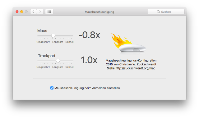 Mouse Acceleration PrefPane on Sierra, German localization