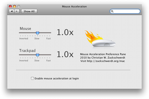 Mouse Acceleration PrefPane on Snow Leopard, English localization